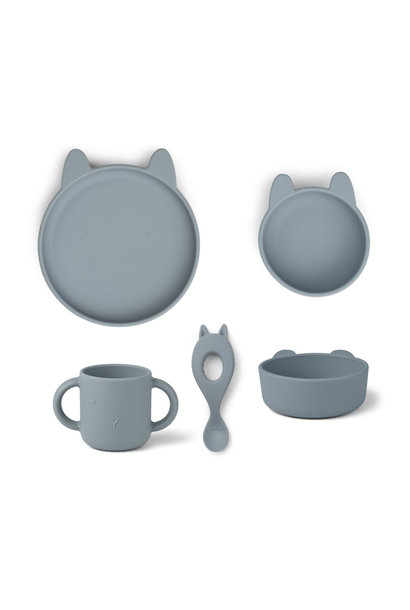 Vivi silicone set rabbit sea blue