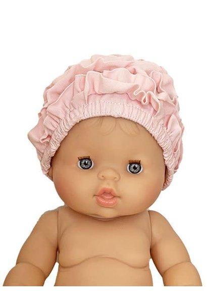 Bonnet de bain monaco beach en coton rose tendre