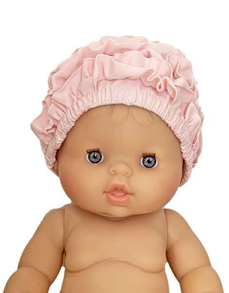 Bonnet de bain monaco beach en coton rose tendre-1