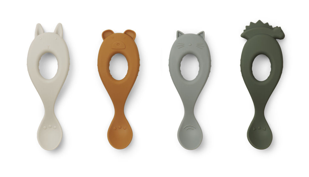 Liva silicone spoon hunter green mix - 4 pack-1