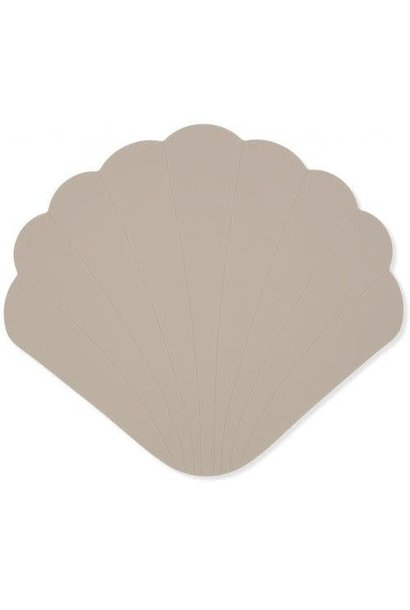 Silicone bath mat clam warm grey