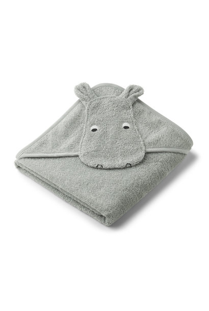 Albert hooded towel hippo dove blue