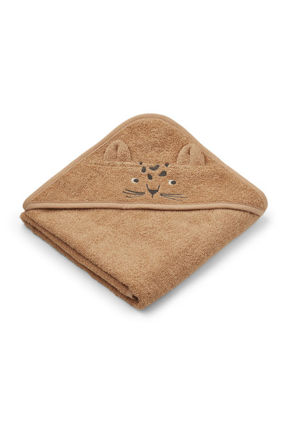 Albert hooded towel leopard apricot