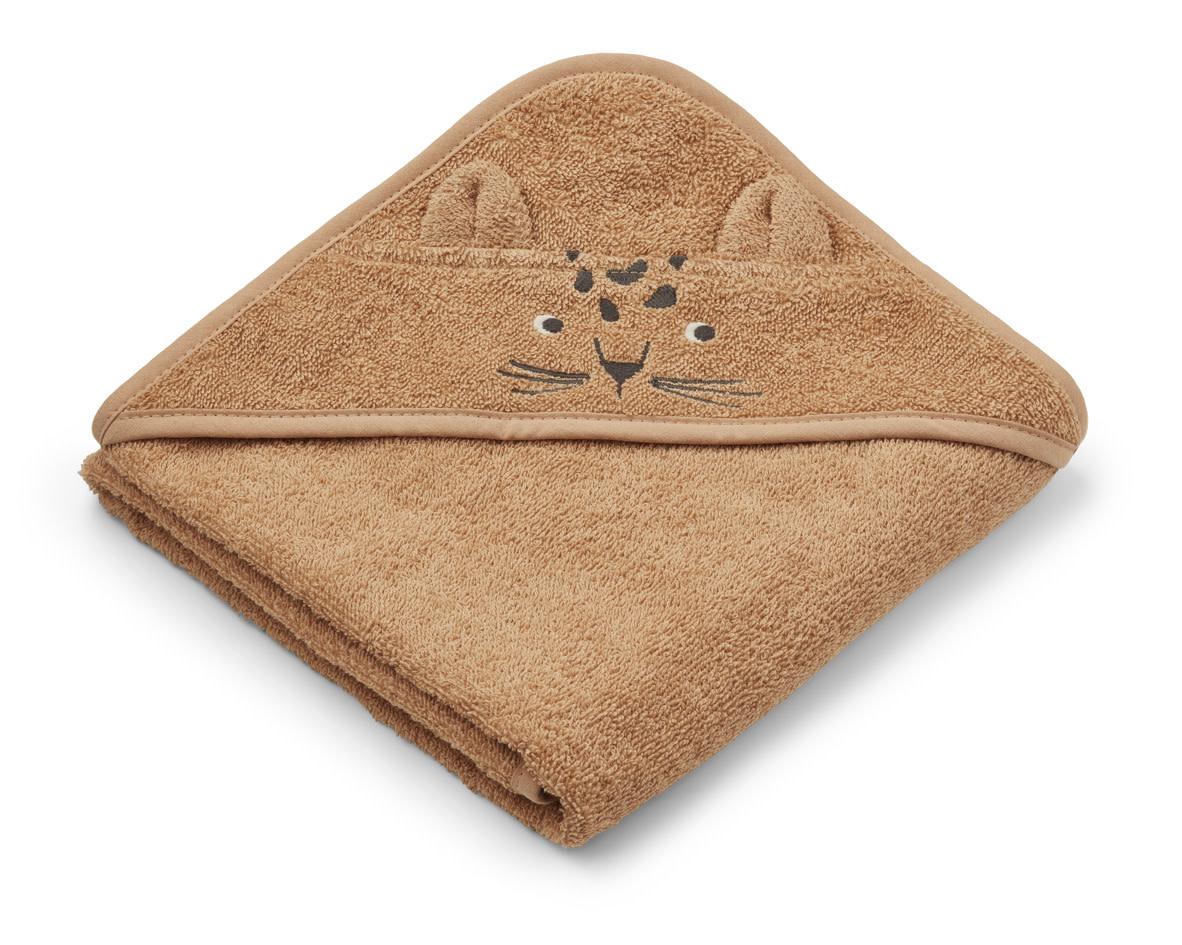 Albert hooded towel leopard apricot-1
