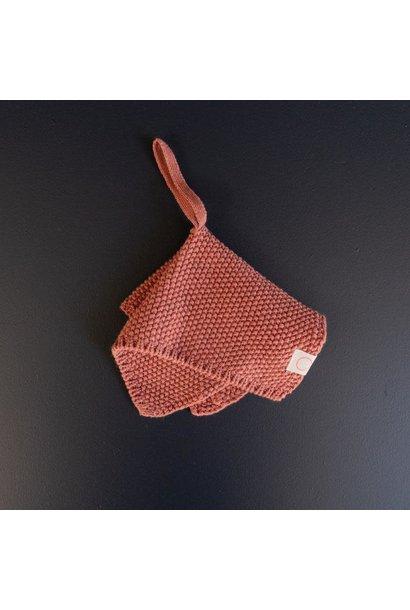 Knitted pacifier hanger terracotta