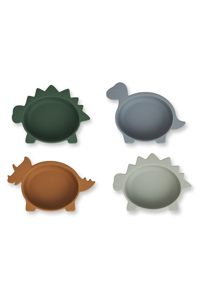 Iggy silicone bowls dino blue multi mix - 4 pack