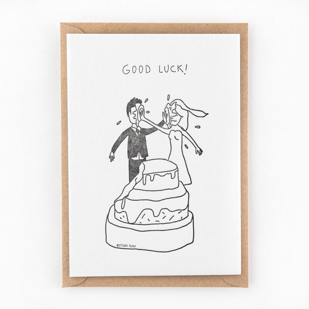 Kaartje 'good luck - wedding cake fight'-1