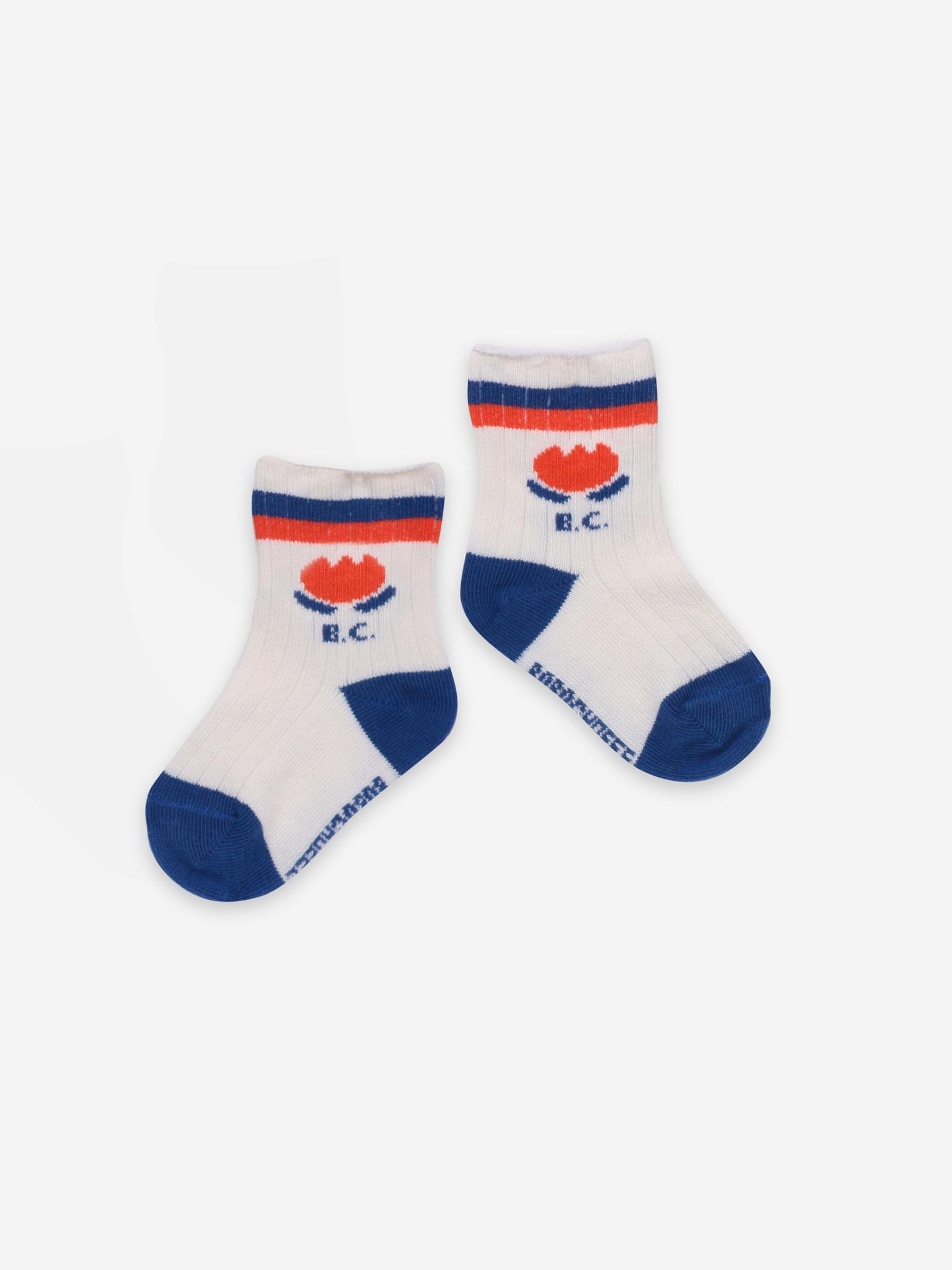 Chocolate flower baby socks-1