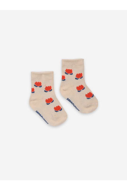 Chocolate flowers white baby socks