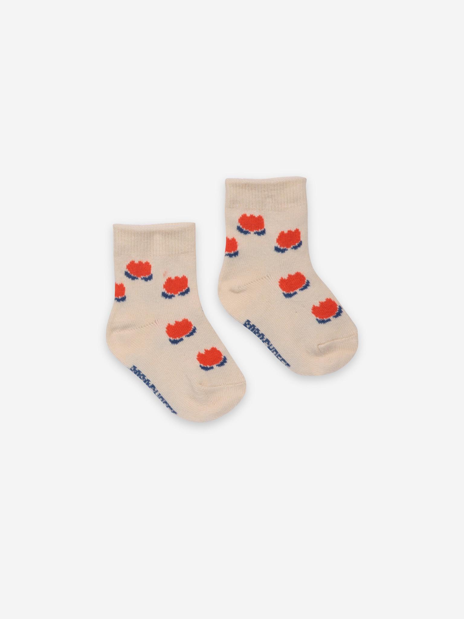 Chocolate flowers white baby socks-1