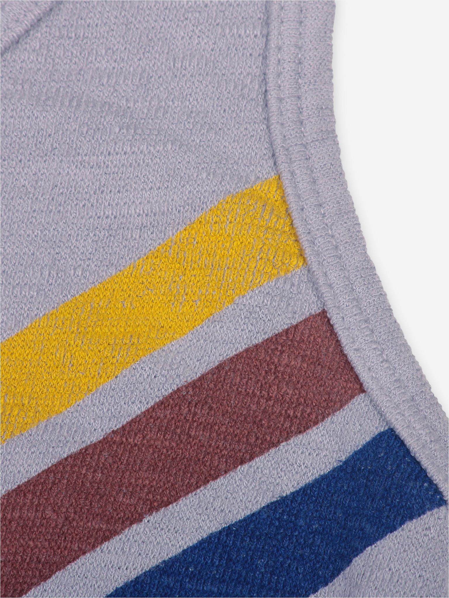 Crosswise stripes fleece playsuit-3