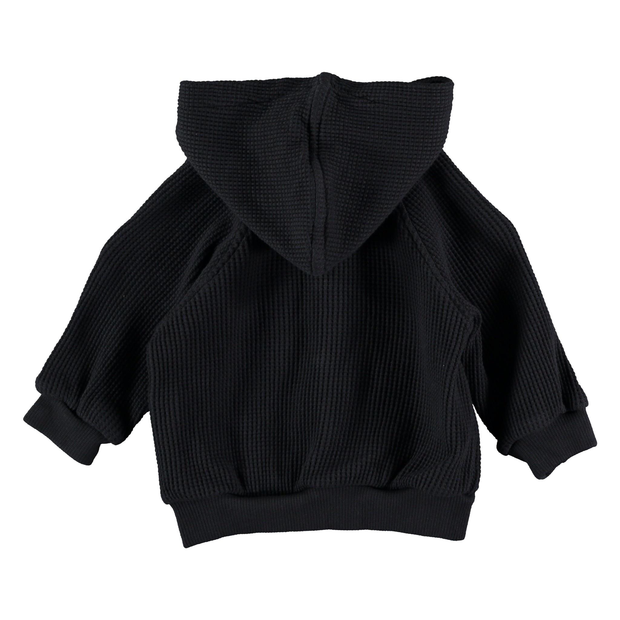 Jean organic cotton waffled hoodie dark blue-2