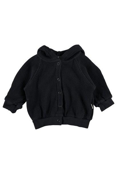 Jean organic cotton waffled hoodie dark blue