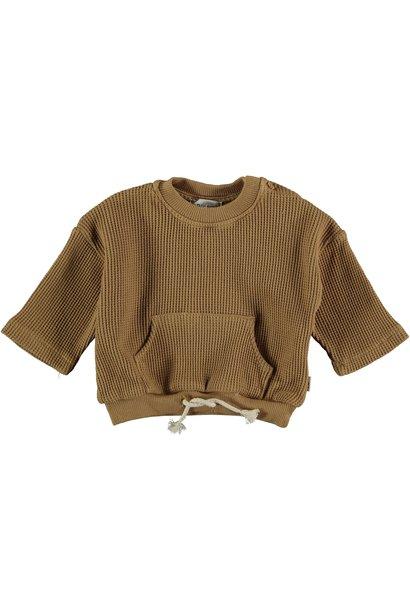 Sergi organic cotton waffled sweatshirt peanut
