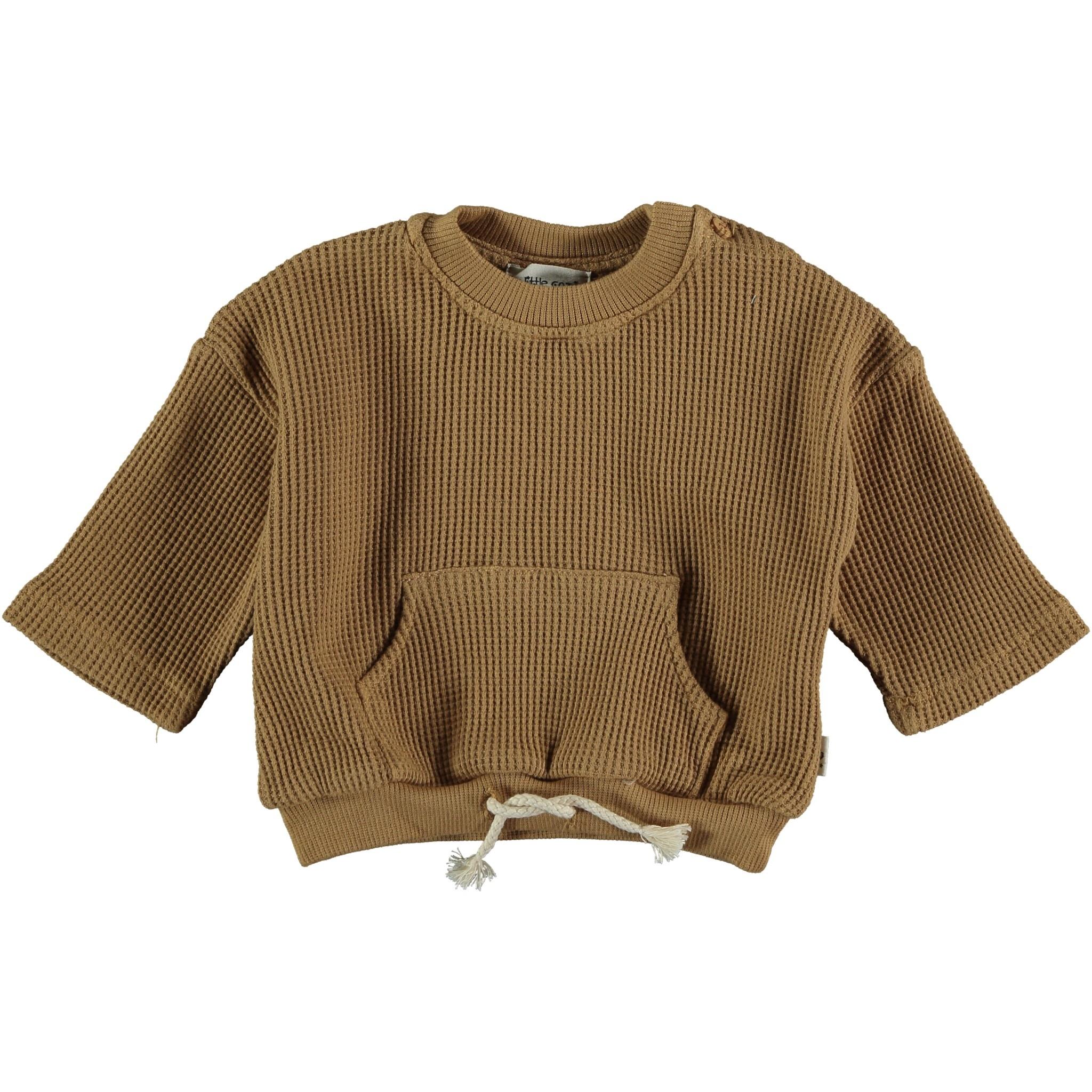 Sergi organic cotton waffled sweatshirt peanut-1