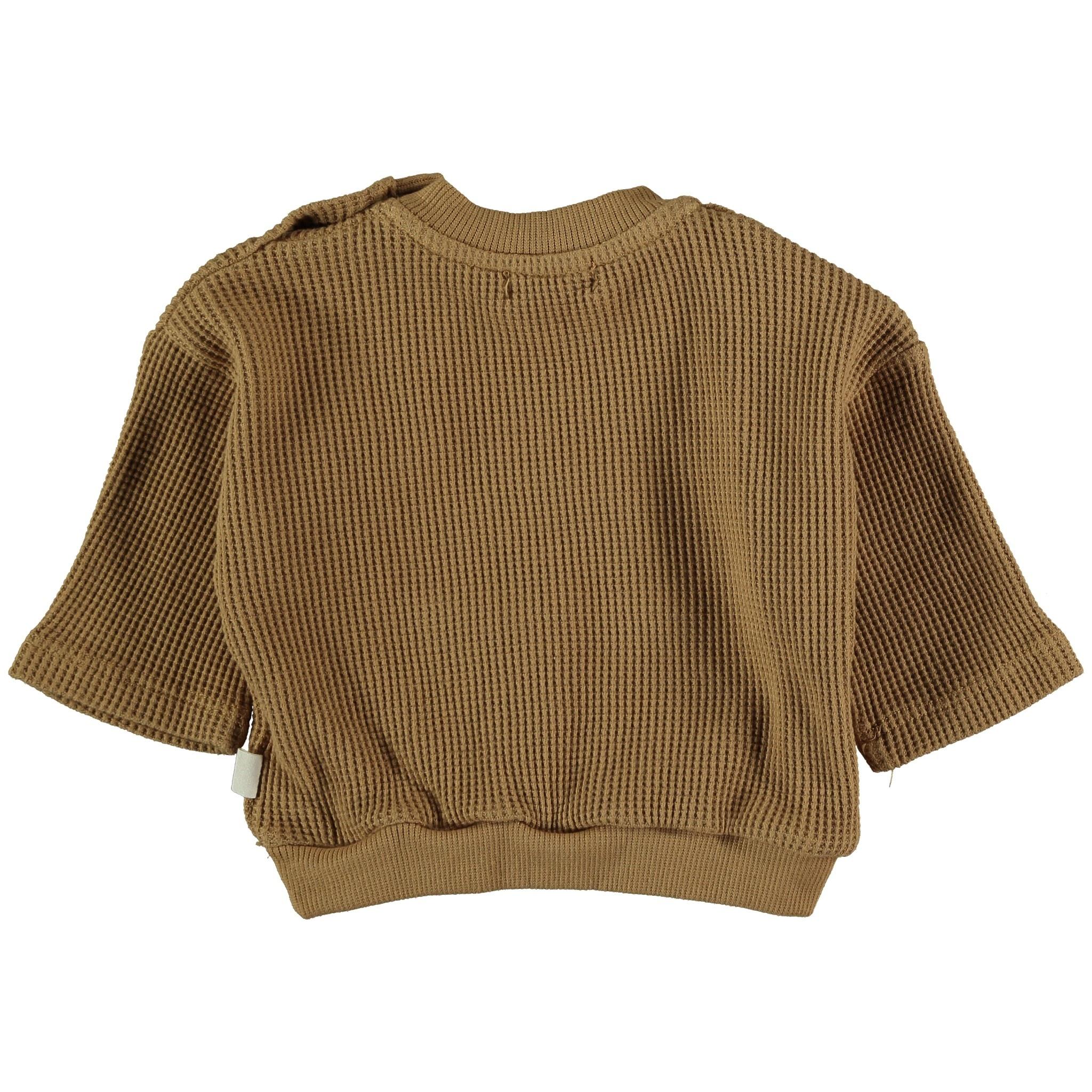 Sergi organic cotton waffled sweatshirt peanut-2
