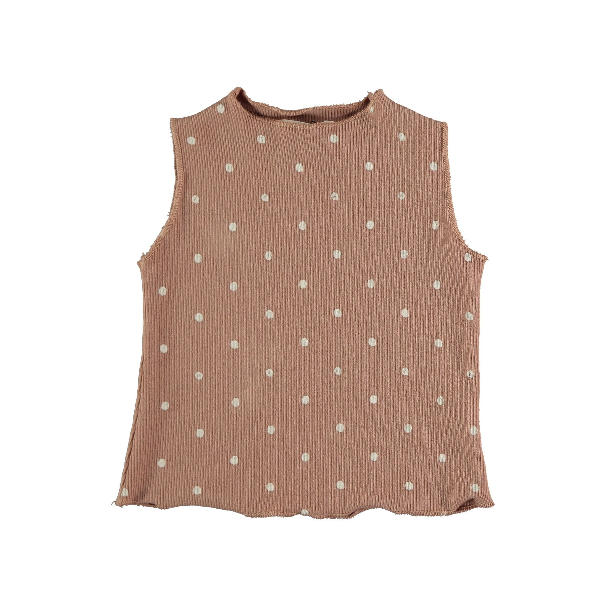 Stella organic ribbed dotted tank terracotta-1