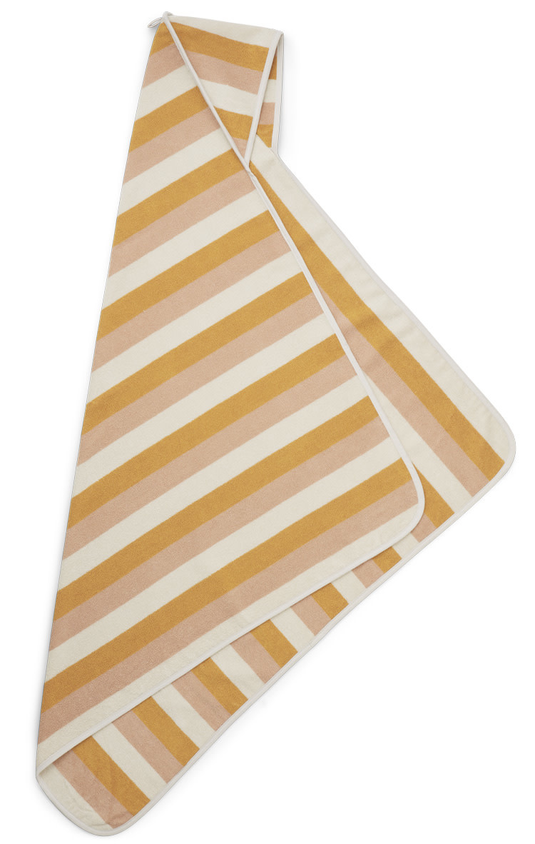 Louie hooded towel stripe peach/sandy/yellow mellow-2