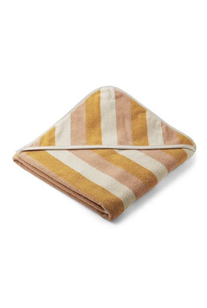 Louie hooded towel stripe peach/sandy/yellow mellow