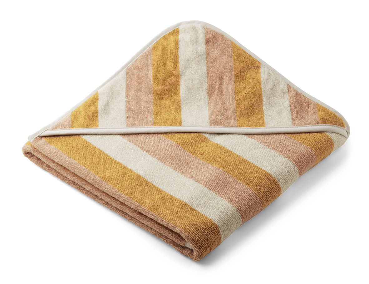 Louie hooded towel stripe peach/sandy/yellow mellow-1