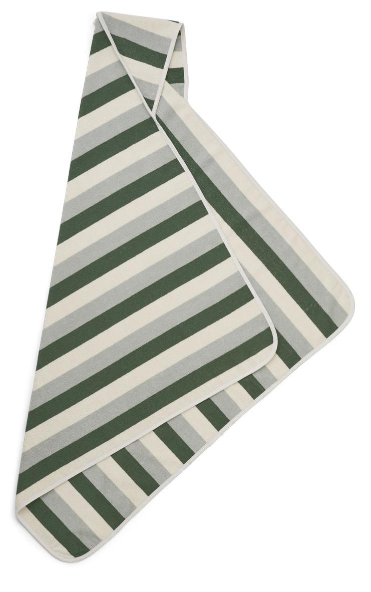Louie hooded towel stripe garden green/sandy/dove blue-2