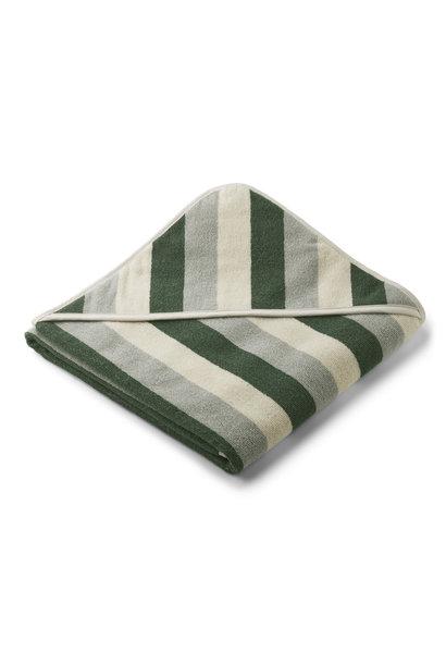 Louie hooded towel stripe garden green/sandy/dove blue