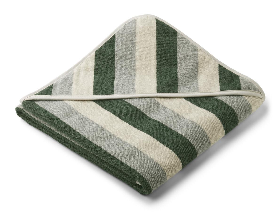 Louie hooded towel stripe garden green/sandy/dove blue-1