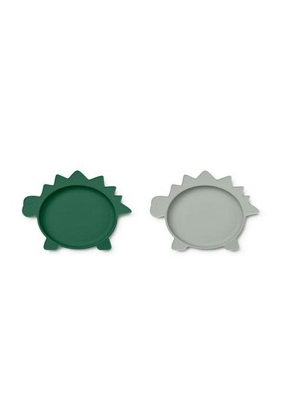 Olivia plate dino garden green/dove blue mix - 2 pack