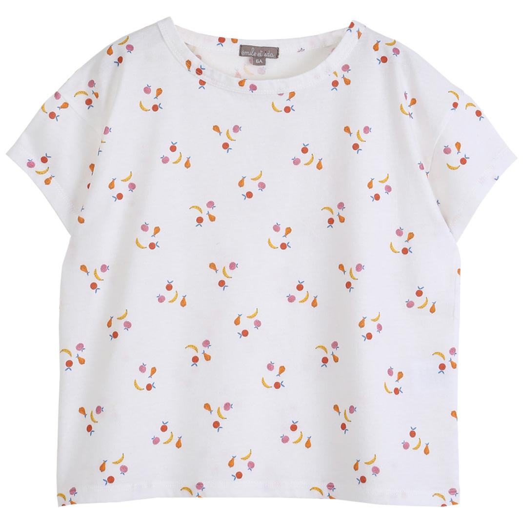 Tee shirt ecru fruit kids-1