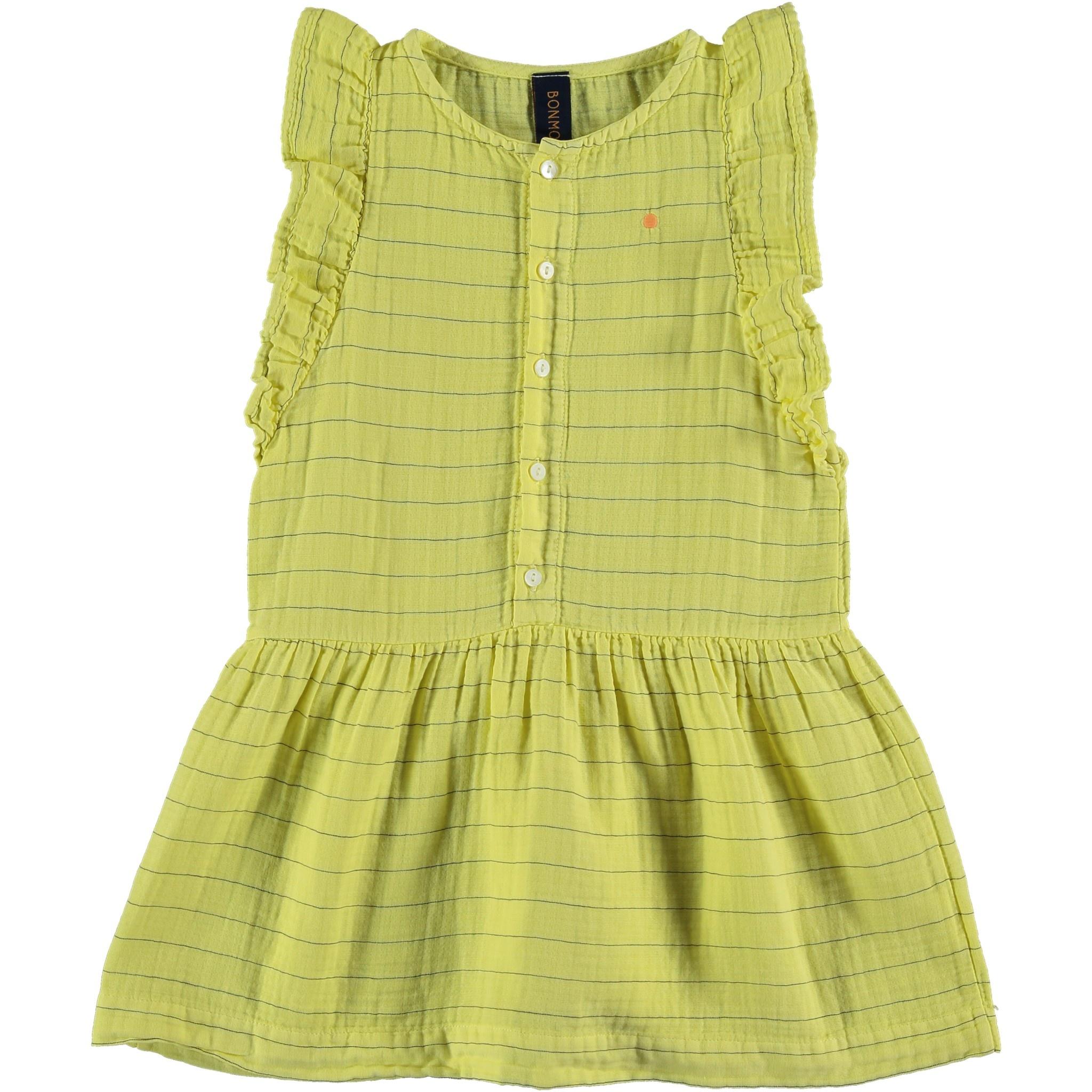 Dress frill stripes dot sunshine yellow kids-1