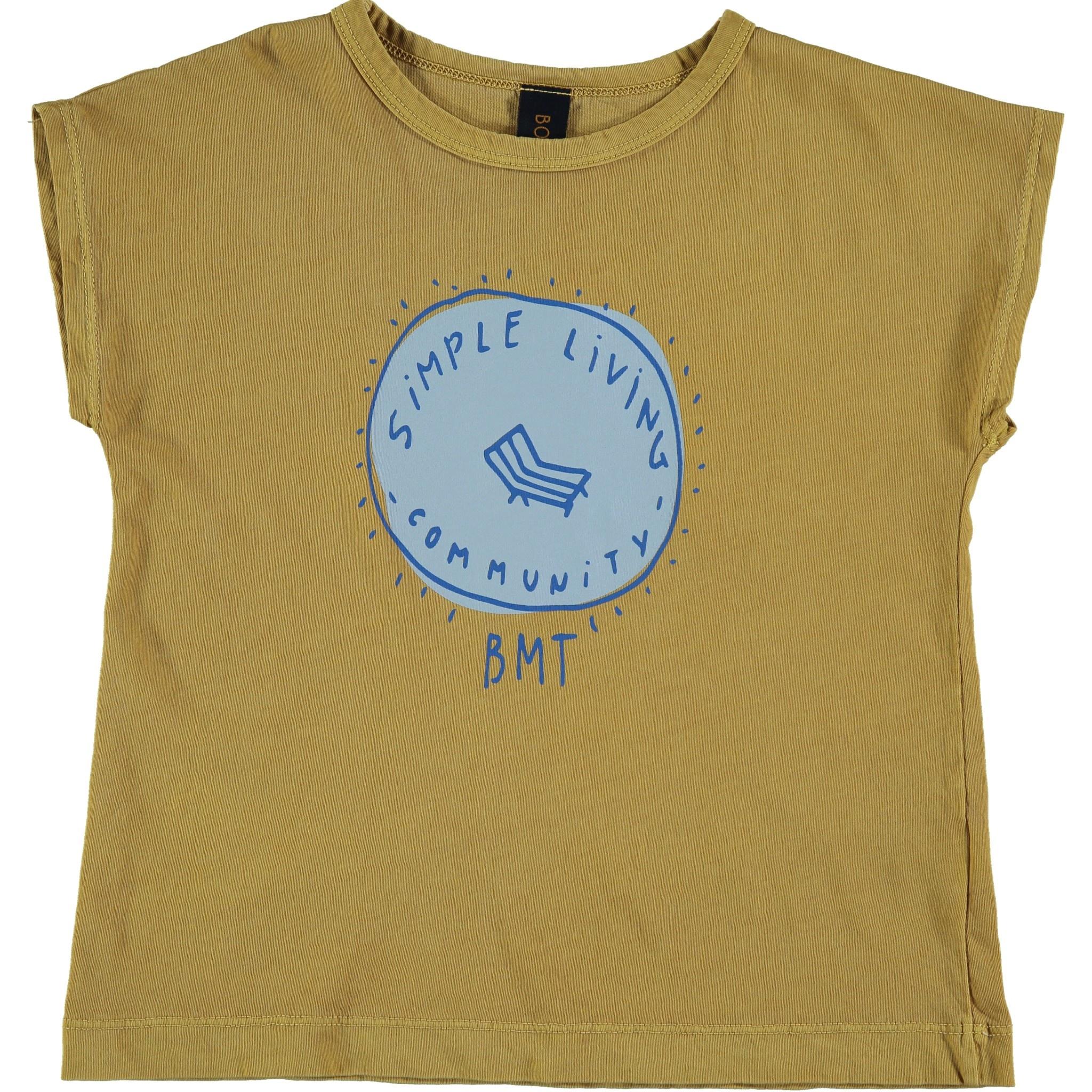 T-shirt simple living mustard kids-1