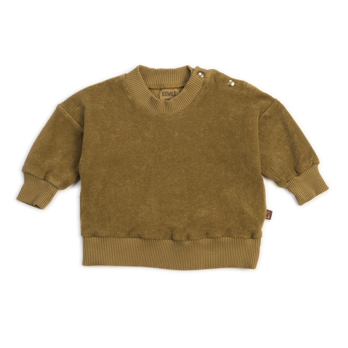 Organic terry sweatshirt olive-1