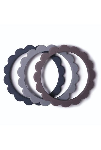 Flower bracelet teether steel/gray/stone