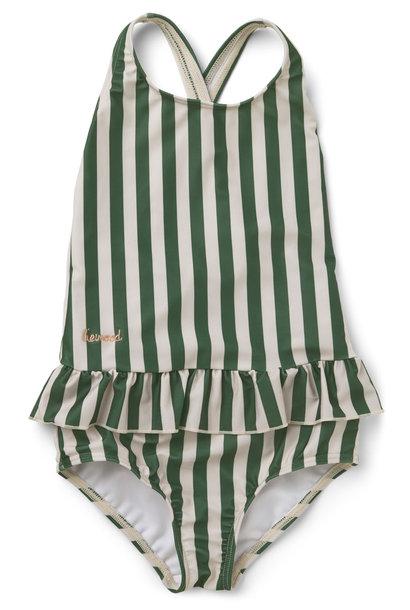 Amara swimsuit garden green/sandy stripe