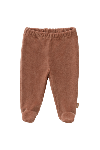 Trousers velours with feet tawny brown