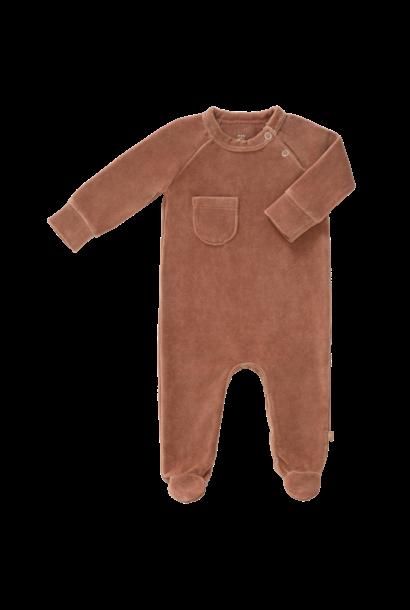 Pyjama velours with feet tawny brown