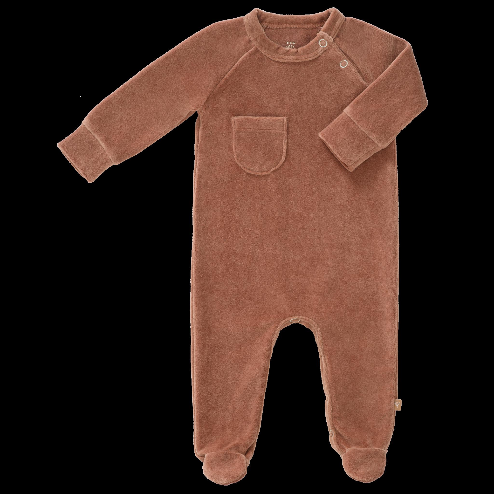 Pyjama velours with feet tawny brown-1