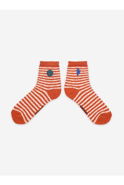 Orange stripes short socks