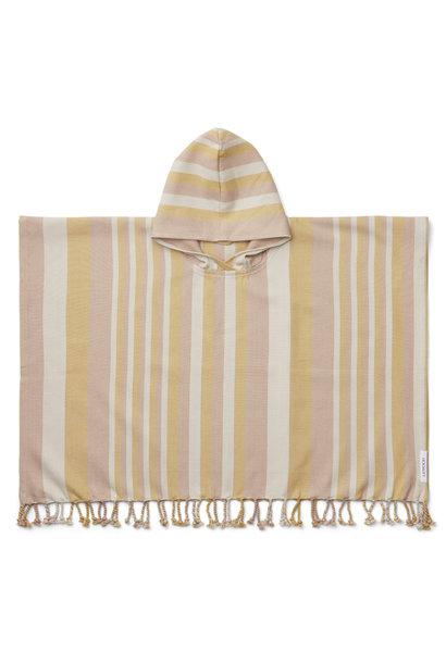 Roomie poncho stripe peach/sandy/yellow mellow