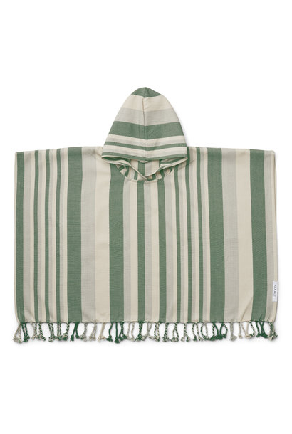 Roomie poncho stripe garden green/sandy/dove blue