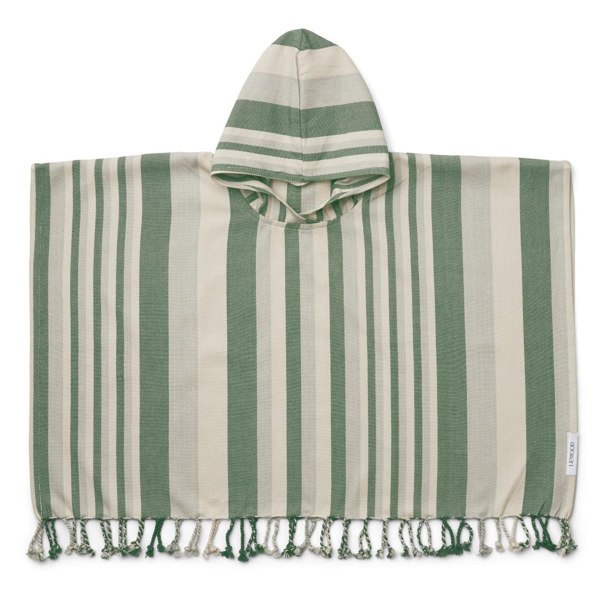 Roomie poncho stripe garden green/sandy/dove blue-1