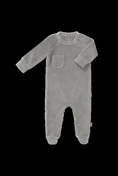 Pyjama velours with feet paloma grey