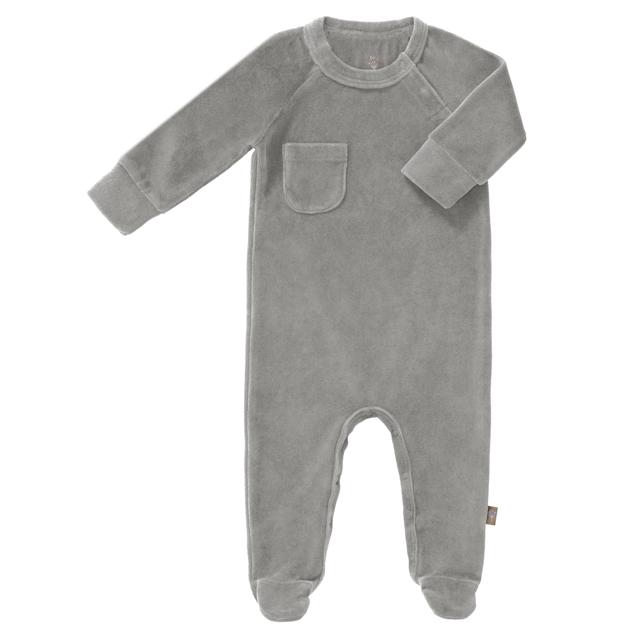 Pyjama velours with feet paloma grey-1