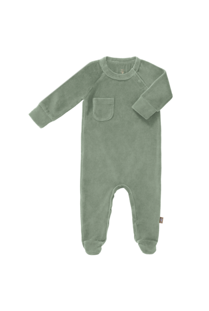 Pyjama velours with feet forest green