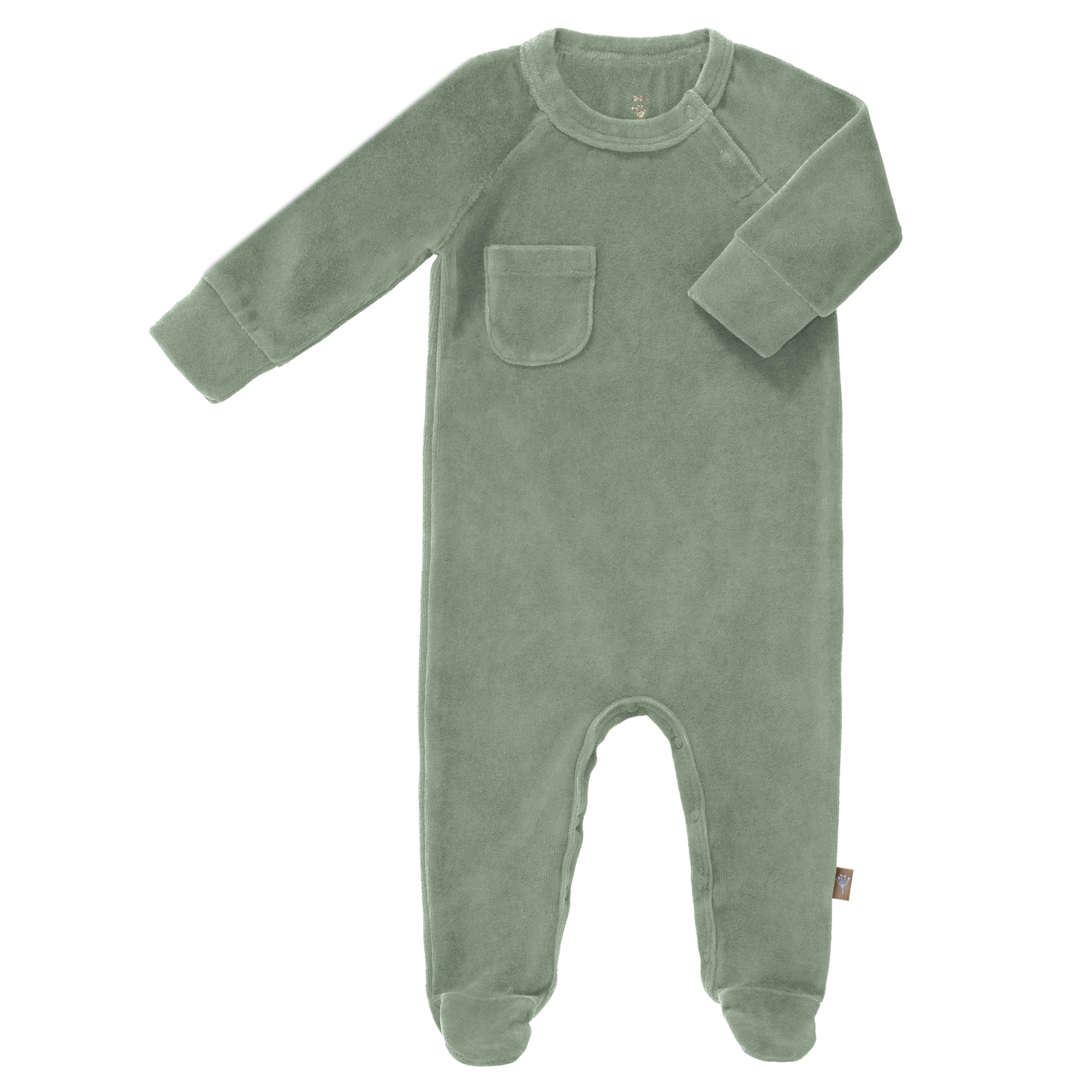 Pyjama velours with feet forest green-1