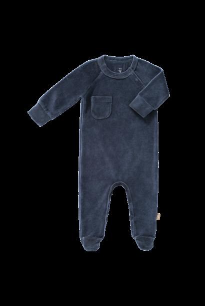 Pyjama velours with feet indigo