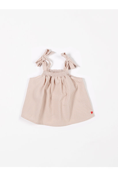 Smock top vichy small pink sand