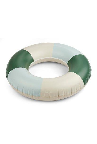 Donna big swim ring stripes garden green/sandy/dove blue