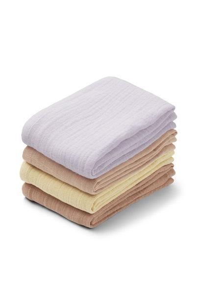 Leon muslin cloth light lavender multi mix - 4 pack