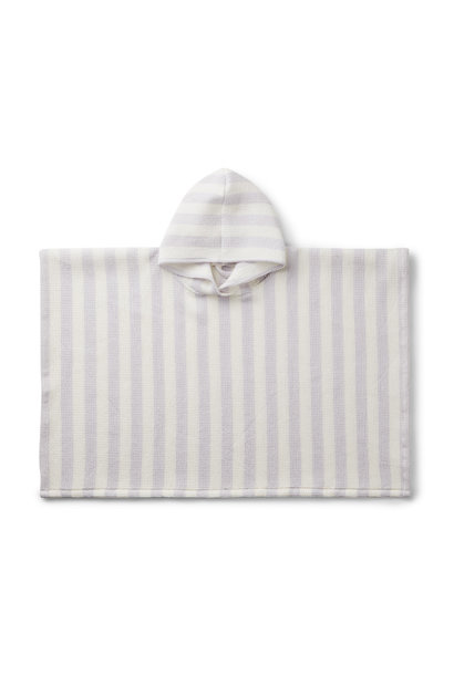 Poncho stripes light lavender/creme de la creme baby